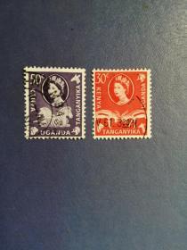 外国邮票 肯尼亚坦桑尼亚乌干达三国联合发行邮票 伊丽莎白女王与动物 2枚 ( 信销 )