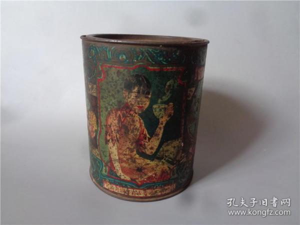 民国时期福州福胜春茶庄美人清香雪商标茶叶包装桶