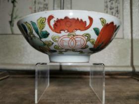 民国时期江西景镇于复盛窑印章底款粉彩福寿三多纹饰大碗