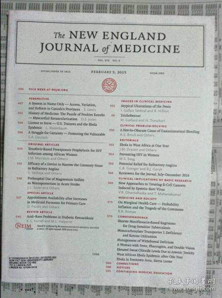 THE NEW ENGLAND JOURNAL OF MEDICINE 2015/02/5 英格兰医学杂志