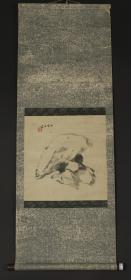【日本回流】原装旧裱 千里 水墨画作品《太湖石》一幅(纸本立轴,画心约1平尺,款识:千里,钤印:千里)HXTX179729