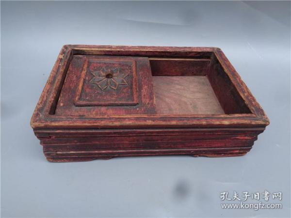 民国时期木雕花卉钮烟丝盒