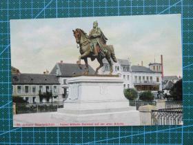 {会山书院}98#世界各国百年欧洲风情-骑马英雄雕像-手写英文明信片
