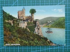 {会山书院}99#世界各国百年欧洲风情-山顶古城堡和轮船-手写英文明信片
