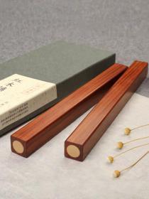 2支黄铜嵌铜镇尺红木镇纸镇尺书法压宣纸清仓一对 创意实木 学生