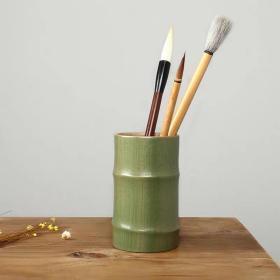 青瓷陶瓷笔筒文房文具用品办公室杂物毛笔座笔简收纳盒多功能笔简