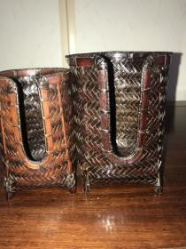 海外回流 手工竹编  茶道具茶篓 茶杯竹篓的竹笼 (库存大3个、小库存3只。标价为一只的价格~