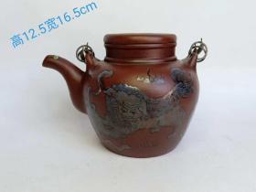 清代老紫砂壶豫丰款纯手工粉彩挂彩狮子狗茶壶一把,保存完整,品相如图