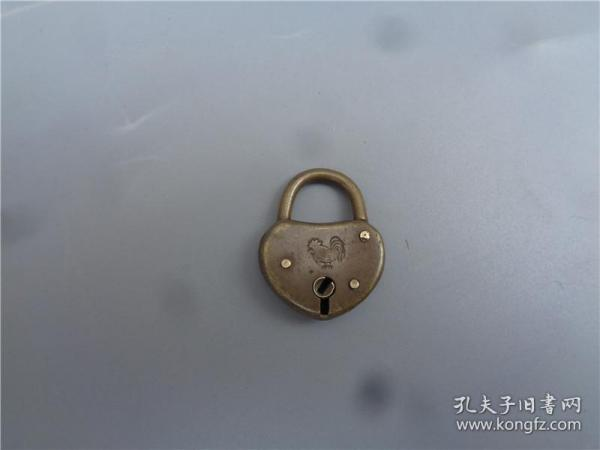 民国时期大鸡图小铜锁