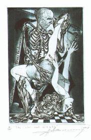 Sergiy  Ivanov~死神与少女藏书票原作
