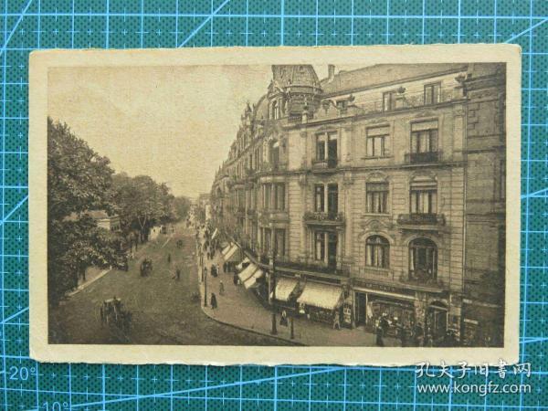 {会山书院}106#世界各国百年欧洲风情-城中大街图-手写英文明信片