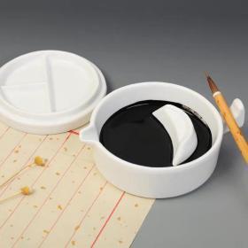 多功能白瓷瓷器砚台带盖 简约笔搁盛墨海毛笔架 料碟墨池文房四宝