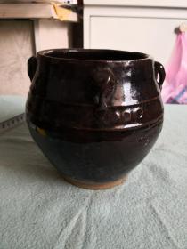 清代黑釉四系罐