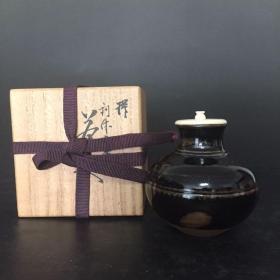 日本 人间国宝 利休丸壶 茶入 名家作品 唐物 大名物 抹茶粉罐 收藏级茶道具