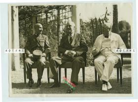 1940年代埃及开罗会议,中华民国国民政府主席兼军事委员会委员长蒋介石、美国总统罗斯福,英国首相丘吉尔合影老照片,盟军商讨反攻日本的战略及战后国际秩序的建立