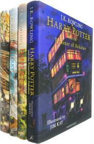 英国彩绘版 英文原版哈利波特与魔法石密室阿兹卡班囚徒火焰杯 Harry Potter 1 2 3 4部曲 精装插画收藏纪念版4册 JK Rowling 罗琳
