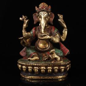 西藏老铜镶绿松石象鼻财神一尊 重1272克   高15厘米  宽10.5厘米