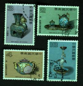 台湾邮政用品、邮票、信销票、古物文物、台湾专208特208珐琅器一套4全