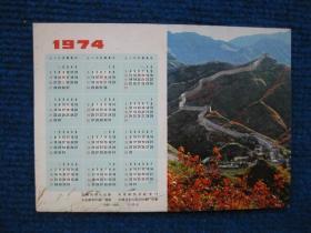 1974年历卡,背后中国历史简表