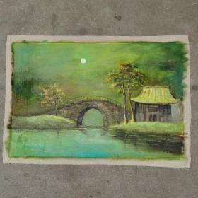 油画颜文樑之作品风景小桥