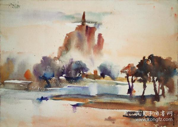 著名画家 谭云森水彩画《湖浜雨幕》31×43.5cm 1985年