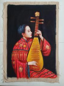 手绘油画人物抱琴仕女图