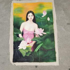油画潘鸿海之作品美女图