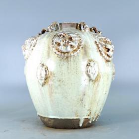 唐银光窑金银釉堆花狮子四系罐