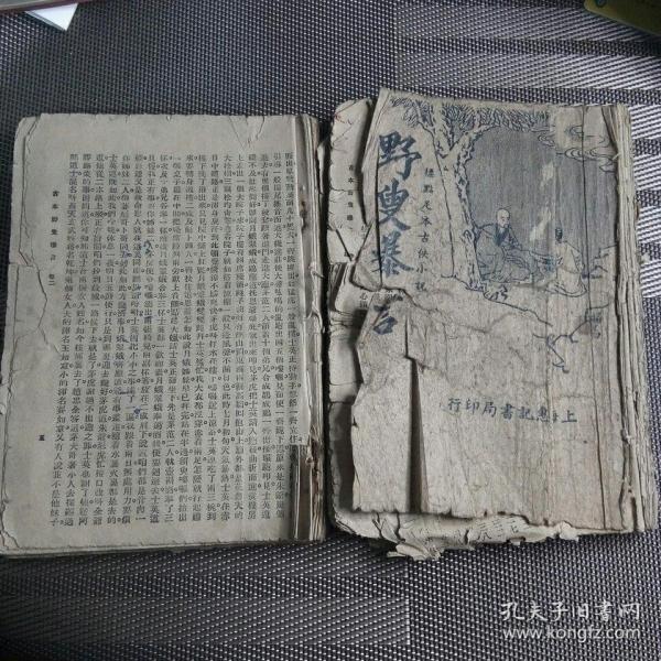 民国上海惠记书局印行   标点古本古侠小说     野叟曝言  第一卷第二卷   残本