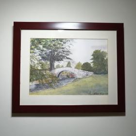 """西洋水彩画,英国画家 Belia C 画于2001年,原创水彩画:""""英格兰风景"""",很有意景的一幅作品。英国的水彩画与油画一样享誉海内外。非印刷品,具欣赏和收藏价格。"""