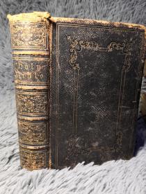 古书   THE OLD AND NEW TESTAMENT 全皮装帧  烫金封面 三面书口刷金   还彩色地图
