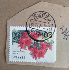 邮票 T162杜鹃花 8-3 映山红20分生日地址邮戳1992.6.18河北石家庄