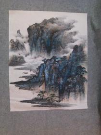无款国画山水画原稿 手绘真迹 软片画心