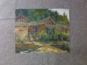 老旧油画风景 原稿手绘真迹