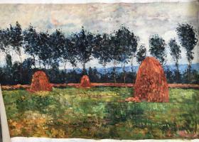 风景油画作品 裤袋