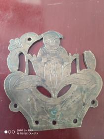 民国双面雕刻人物铜饰一件