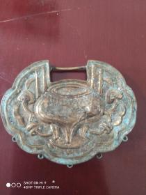 清或民国鎏金铜胎锁(空壳,缺链子,缺坠子)