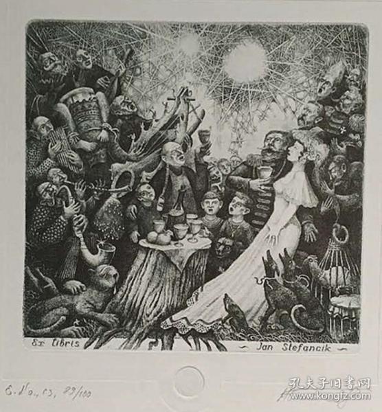 俄罗斯 尼古拉·拜塔科夫Nikola Batakov版画藏书票原作7精品收藏尺寸(21*27cm)