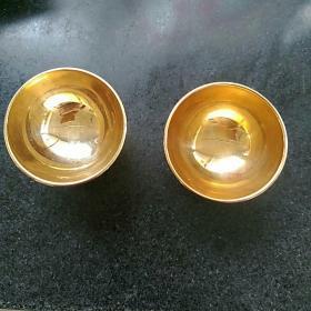 日本24k镀金祝寿酒盏两只,底款寿字,24kGp包金标识,直径5.4㎝,高3.8㎝