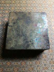 个人珍藏清末兰花铜墨盒,福盛德斋号款。六一做个特价