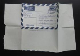 1968年11月15日(奥地利寄美国)航空5分邮资实寄邮简(73)