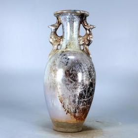 唐银光窑金银釉堆花双龙观音瓶