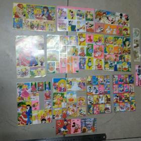 银边不干胶贴纸:花仙子,米老鼠  12版合售  尺寸不一