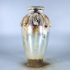 唐银光窑金银釉堆花叶子梅瓶132