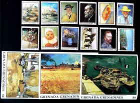 格林纳达荷兰画家梵高名画六橘子篮子雪中的拾柴者邮票12+3M全新
