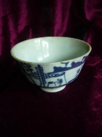 清代青花山水纹瓷碗