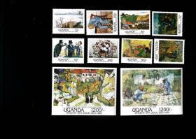 乌干达1991荷兰画家梵高名画阿尔勒为背景雪景第一步邮票8+2M全新
