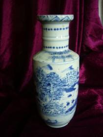 清晚期 青花山水纹棒槌瓶