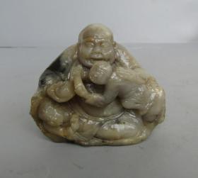 八十年代寿山石弥勒佛童子摆件