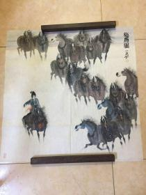 曹小钦画作(牧马图)尺寸:69*68.5CM